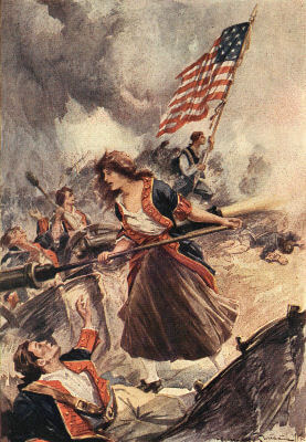 An illustration for the story Molly Pitcher: The Brave Gunner of the Battle of Monmouth by the author Kate Dickinson Sweetser