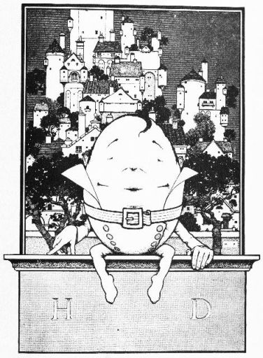 An illustration for the story Humpty Dumpty by the author L. Frank Baum