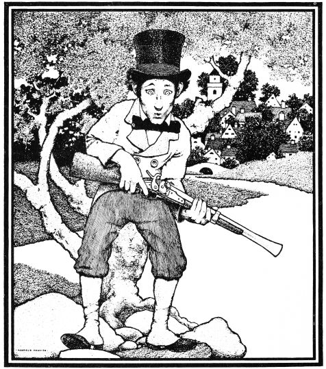 An illustration for the story The Little Man And His Little Gun by the author L. Frank Baum