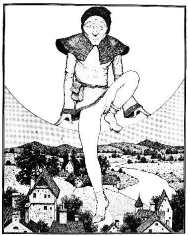 An illustration for the story The Man In The Moon by the author L. Frank Baum