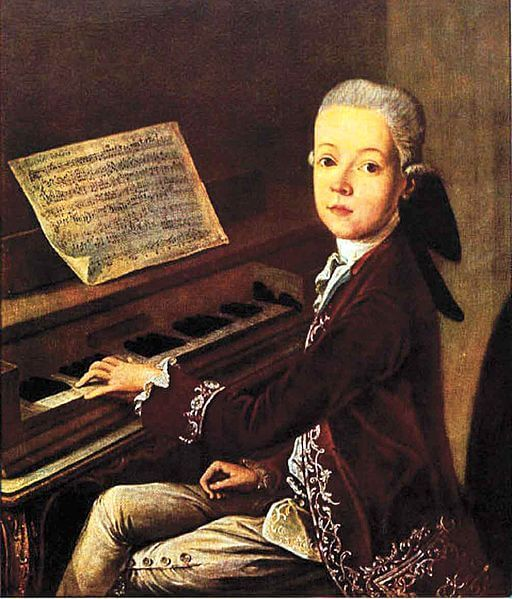 An illustration for the story Mozart: The Boy Musician by the author Kate Dickinson Sweetser