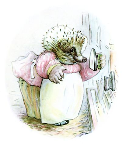 An illustration for the story The Tale of Mrs. Tiggy-Winkle by the author Beatrix Potter