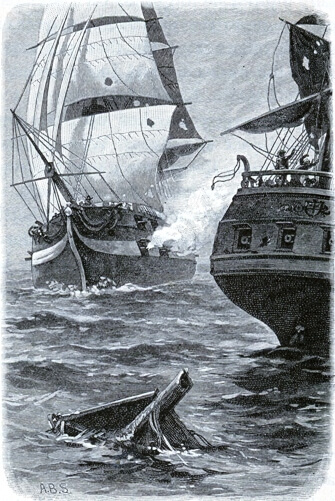 An illustration for the story Old Ironsides by the author Albert F. Blaisdell