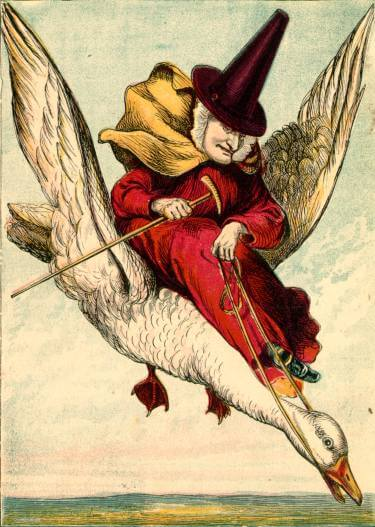An illustration for the story Old Mother Goose and Her Son Jack by the author Joseph Martin Kronheim