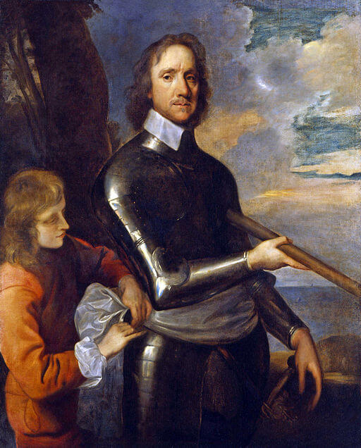 An illustration for the story Oliver Cromwell by the author Nathaniel Hawthorne