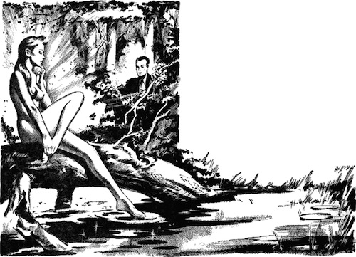 An illustration for the story Piper in the Woods  by the author Philip K. Dick