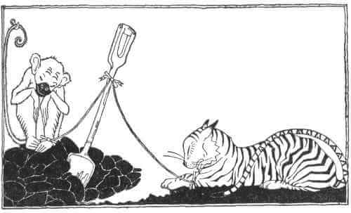An illustration for the story Poker Face the Baboon and Hot Dog the Tiger by the author Carl Sandburg