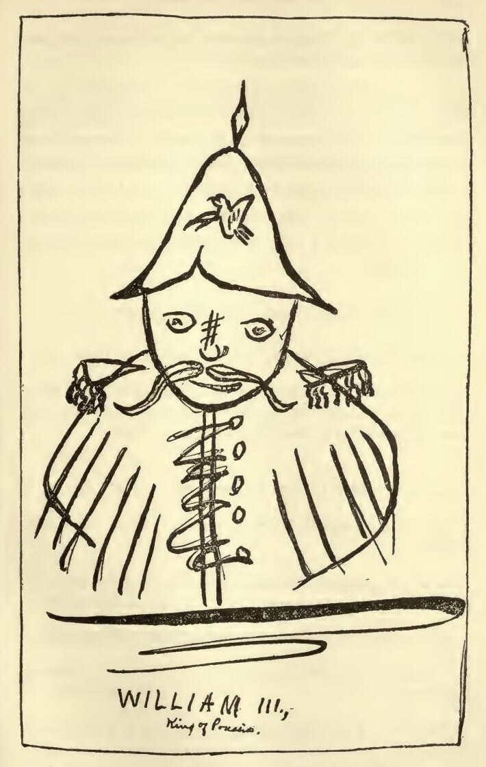 An illustration for the story Portrait of King William III by the author Mark Twain