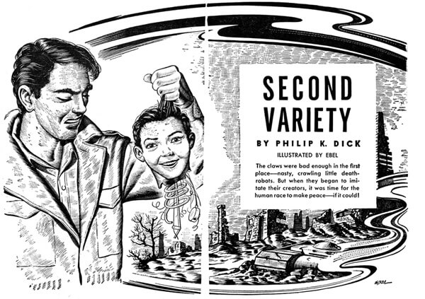 An illustration for the story Second Variety  by the author Philip K. Dick