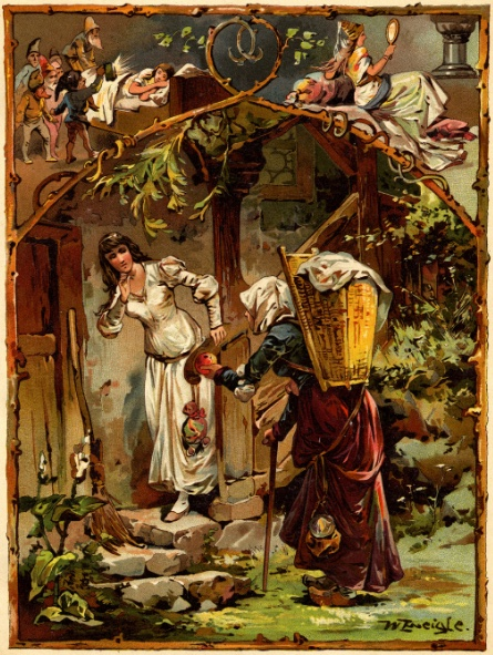 An illustration for the story Snow White by the author