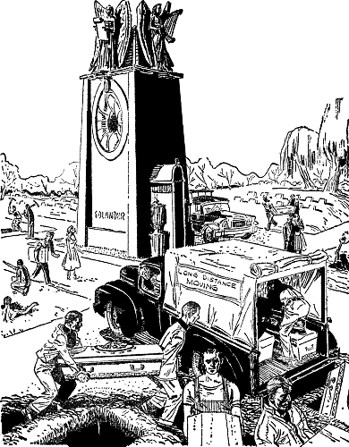 An illustration for the story Solander's Radio Tomb by the author Ellis Parker Butler
