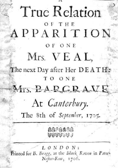 An illustration for the story The Apparition of Mrs. Veal by the author Daniel Defoe