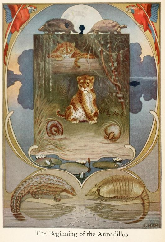 An illustration for the story The Beginning of the Armadillos by the author Rudyard Kipling