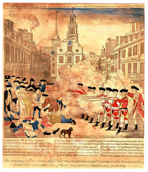 An illustration for the story The Boston Massacre by the author Nathaniel Hawthorne