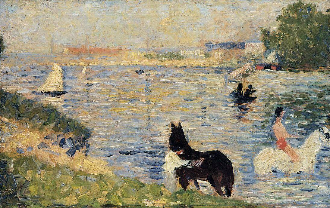 Georges Seurat, Horses in the water, 1883