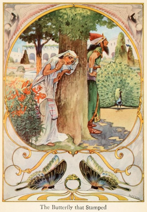 An illustration for the story The Butterfly that Stamped by the author Rudyard Kipling