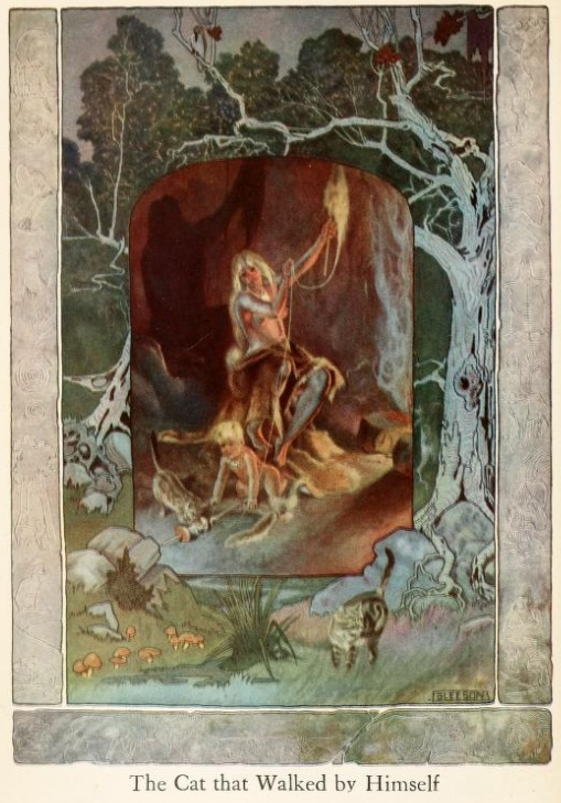 An illustration for the story The Cat that Walked by Himself by the author Rudyard Kipling
