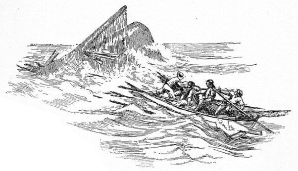 An illustration for the story The Chase by the author Herman Melville
