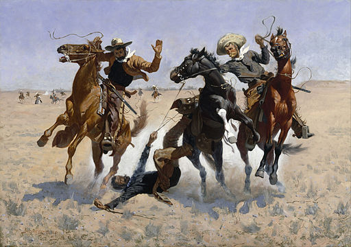An illustration for the story The Colonel and the Horse-Thief by the author Rex Ellingwood Beach