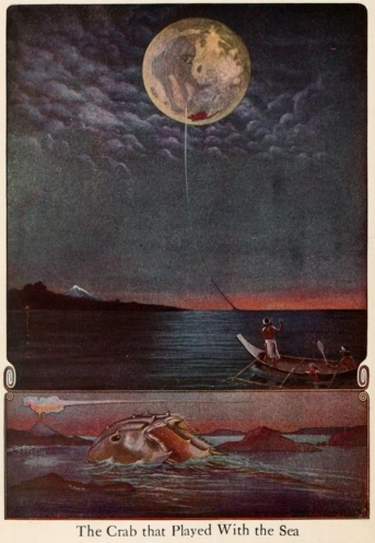 An illustration for the story The Crab that Played with the Sea by the author Rudyard Kipling