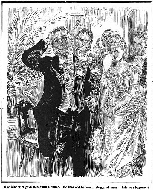An illustration for the story The Curious Case of Benjamin Button by the author F. Scott Fitzgerald
