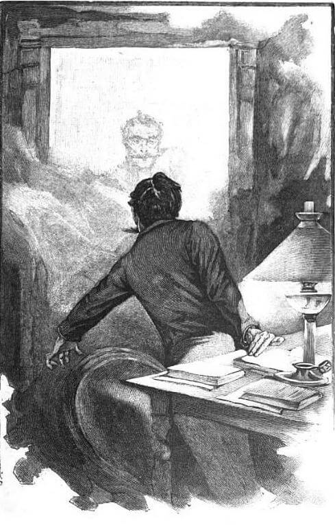 An illustration for the story A Ghost by the author Guy de Maupassant