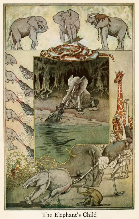 An illustration for the story The Elephant's Child by the author Rudyard Kipling
