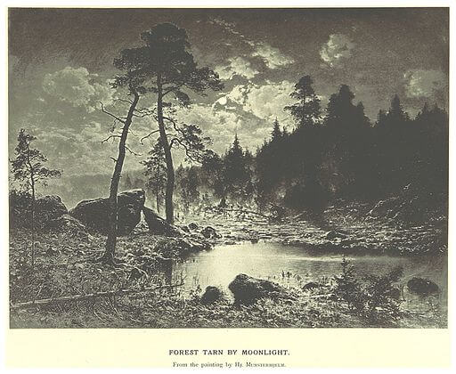 The Fall of the House of Usher, forest tarn by moonlight, Mechelin, 1894