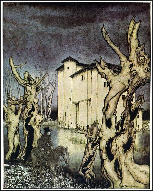 The Fall of the House of Usher, mansion illustration by Arthur Rackham