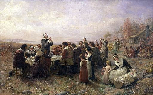The First Christmas in New England, Thanksgiving, 1621, Jennie Augusta Brownscombe (1914)