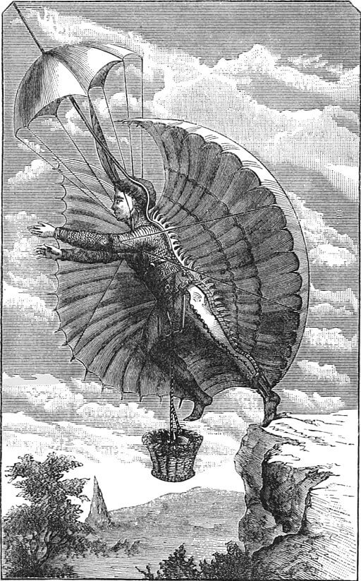 An illustration for the story The Flying Man  by the author H.G. Wells
