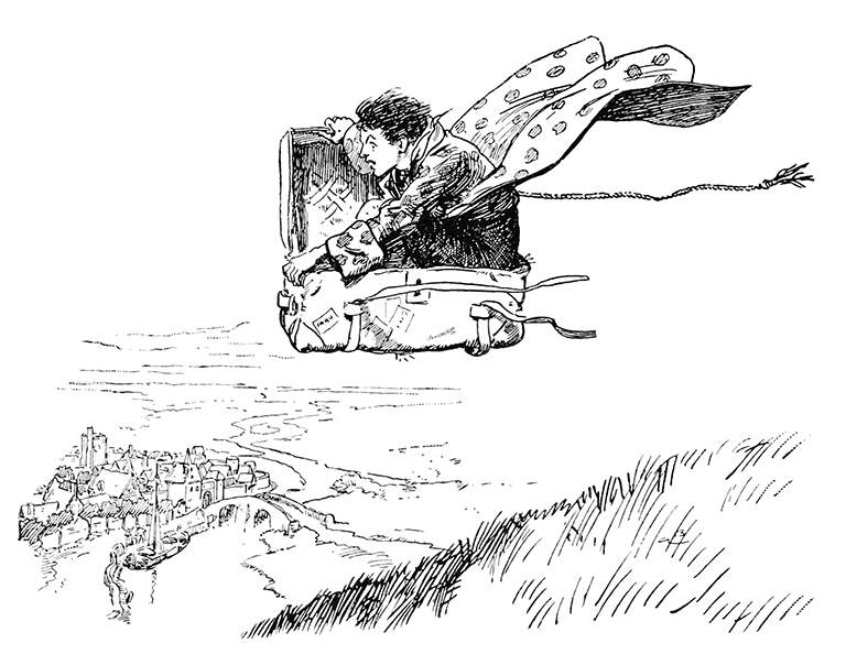An illustration for the story The Flying Trunk by the author Hans Christian Andersen