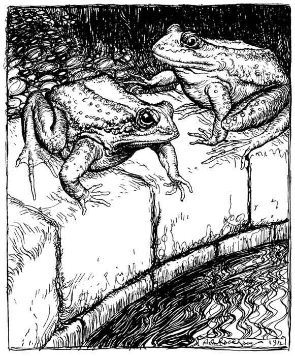 An illustration for the story The Frogs and the Well by the author Aesop