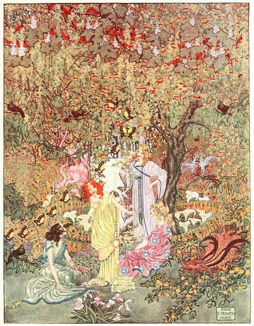 An illustration for the story The Garden of Paradise by the author Hans Christian Andersen