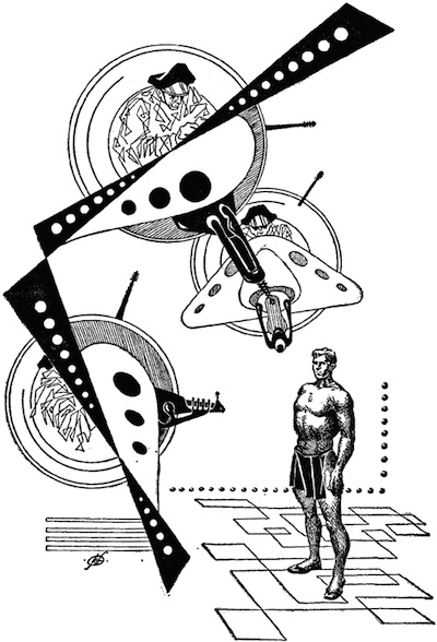 An illustration for the story The Golden Man  by the author Philip K. Dick