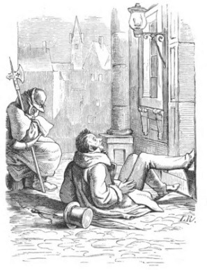 An illustration for the story The Goloshes of Fortune by the author Hans Christian Andersen