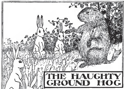 An illustration for the story The Haughty Ground Hog by the author Clara Dillingham Pierson