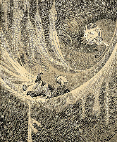 An illustration for the story The House of Cobwebs by the author George Gissing