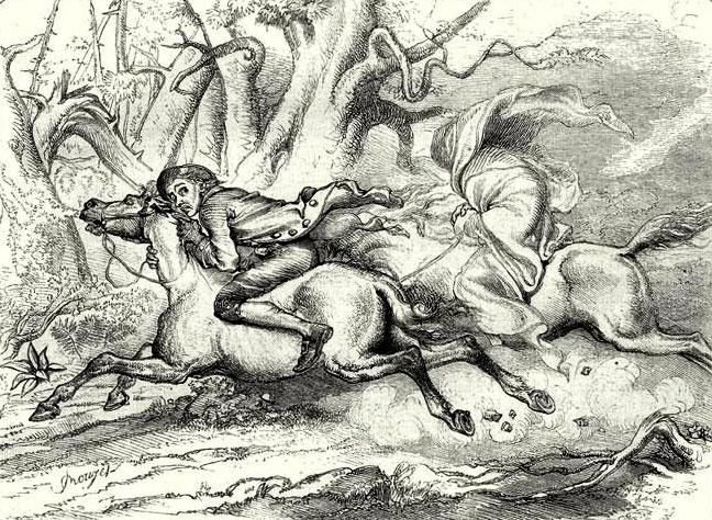 An illustration for the story The Legend of Sleepy Hollow by the author Washington Irving