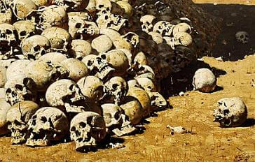 Robert W. Chambers: The Messenger illustration, pile of skulls painting, Vasily Vereshchagin