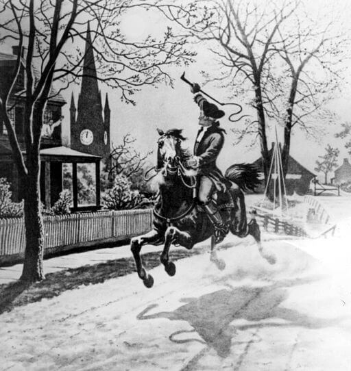 An illustration for the story The Midnight Ride: Paul Revere by the author James Baldwin