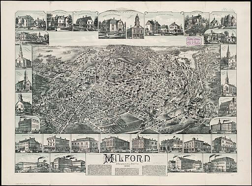 The Minister's Black Veil: Milford, Massachusetts, 1888 map