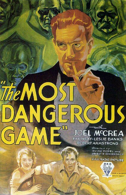An illustration for the story The Most Dangerous Game by the author Richard Connell