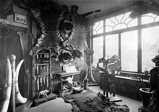 The Most Dangerous Game, hunting trophy room, 1920