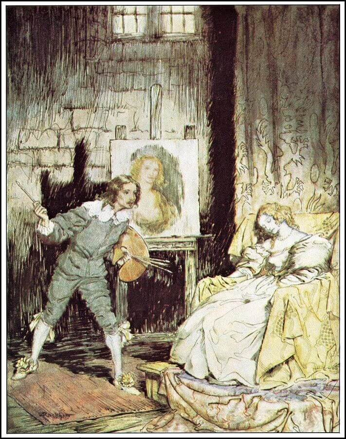 An illustration for the story The Oval Portrait  by the author Edgar Allan Poe