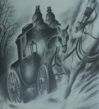 An illustration for the story The Phantom Coach by the author Amelia B. Edwards