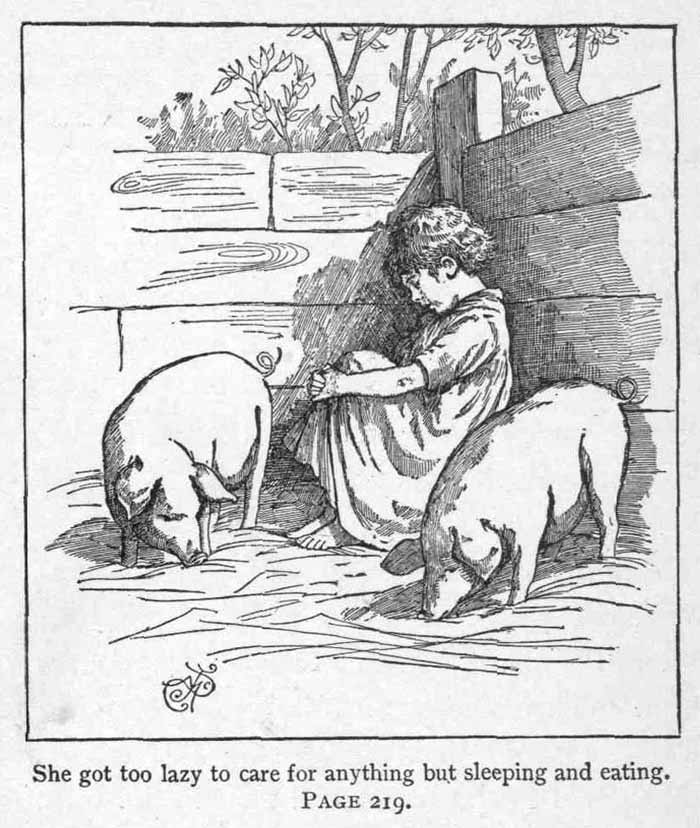 An illustration for the story The Piggy Girl by the author Louisa May Alcott