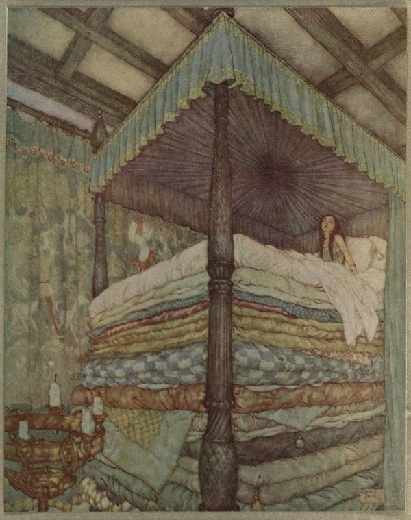 An illustration for the story The Princess and the Pea by the author Hans Christian Andersen