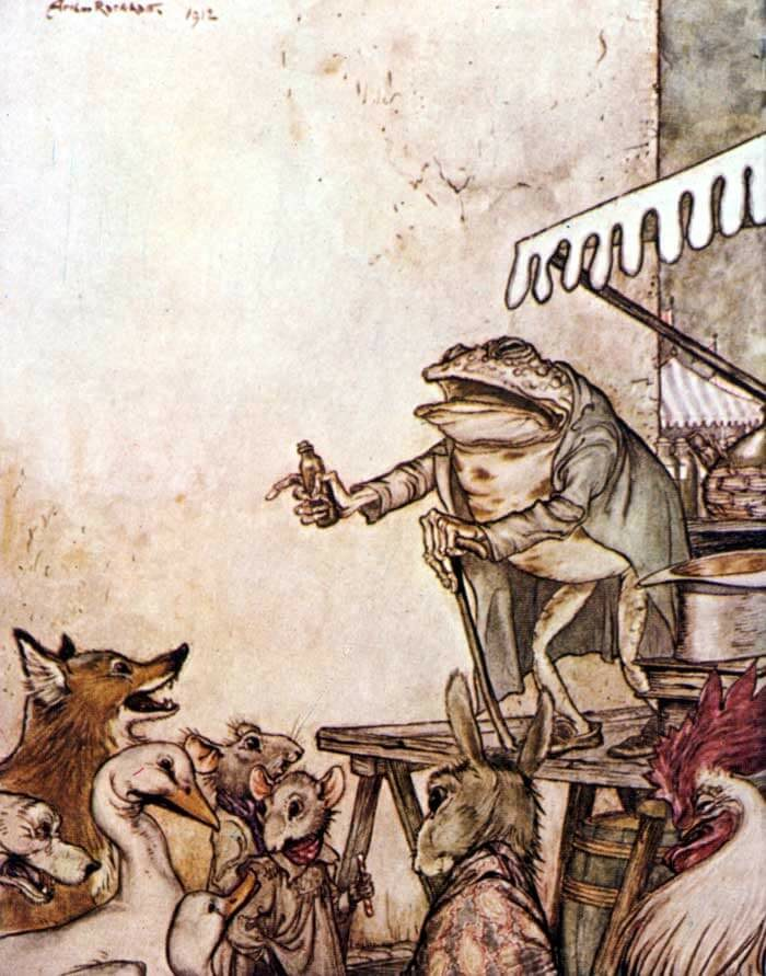 An illustration for the story The Quack Toad by the author Aesop