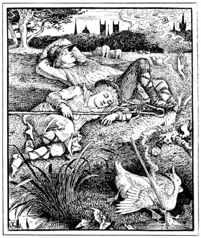 An illustration for the story The Remarkable Rocket by the author Oscar Wilde